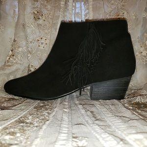 Black Fringe Suede Leather Kelsi Dagger Ankle Boot